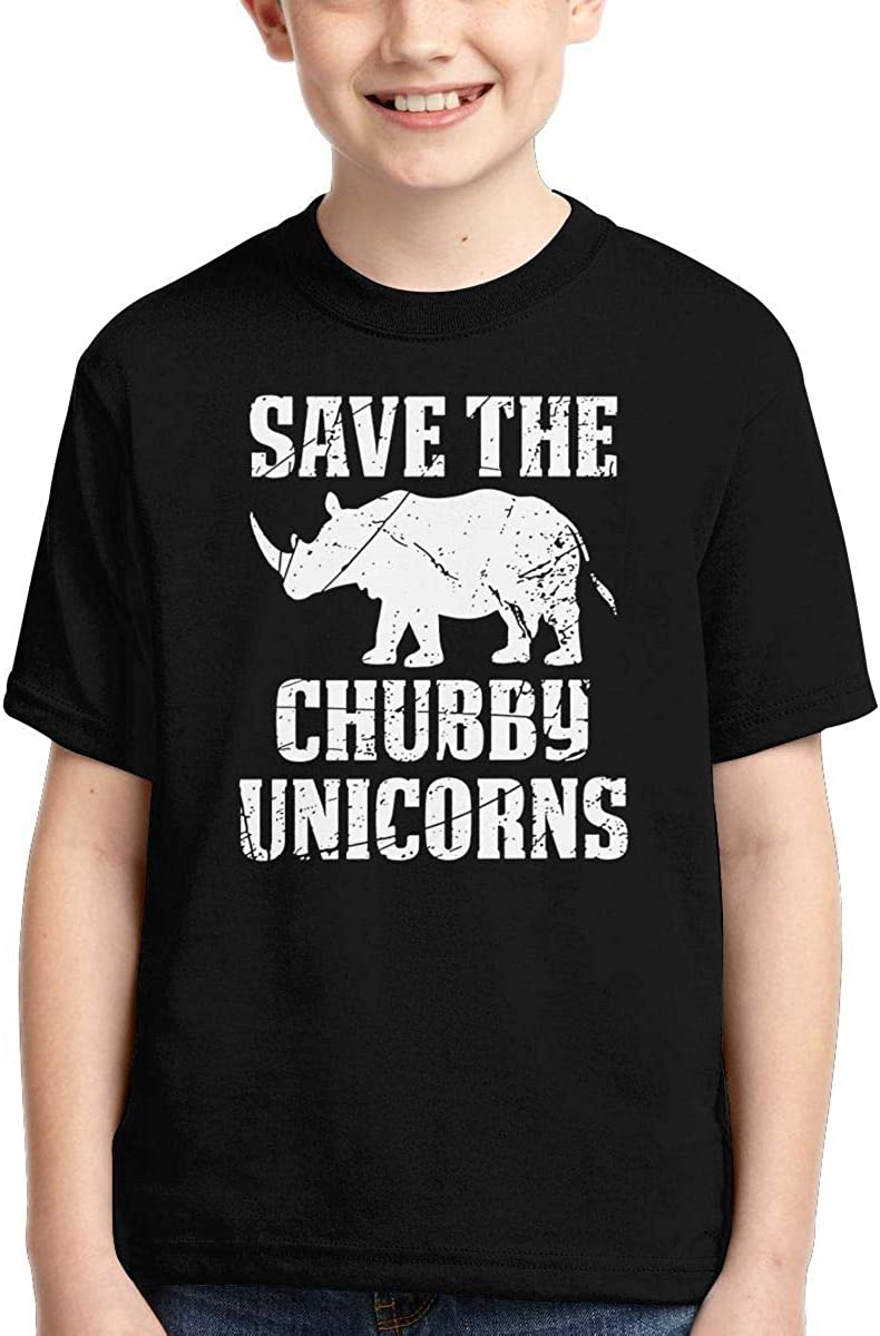 AMODECO Save The Chubby Unicorns 3D Printed Tee T-Shirt for Youth Teenager Boys Girls