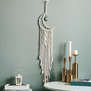 JOXJOZ Handmade Moon Owl Design Woven Cotton Dream Catchers Boho Macrame Wall Hanging Home Decoration Ornament Craft Gift (Beige-Moon)