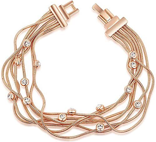 AmDxD Jewelry Gold Plated Womens Charm Bracelet Rose Gold Cubic Zirconia