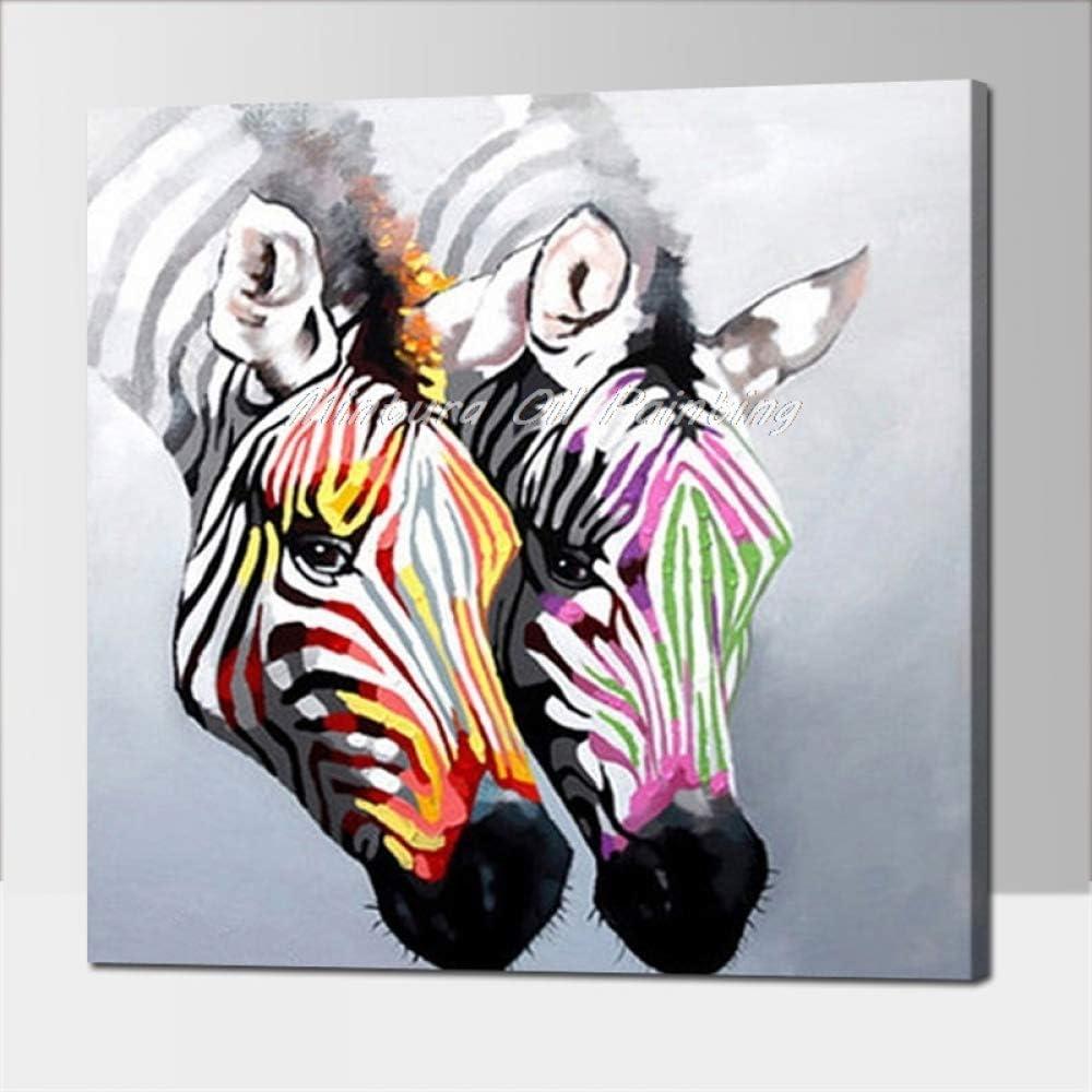 Pinturas Al Pintura Al Óleo Pintado A Mano,100% Pintado A Mano Animal Abstracto Cabeza De Cebra De Color Pinturas Al Óleo Sobre Lienzo Cuadros Modernos Del Arte De La Pared Para La Sala Decoración