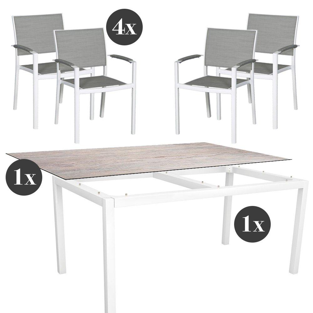 Gartenmöbel-Set - 4x Stern Stapelsessel Lola mit Stern Tisch 160x90 ...