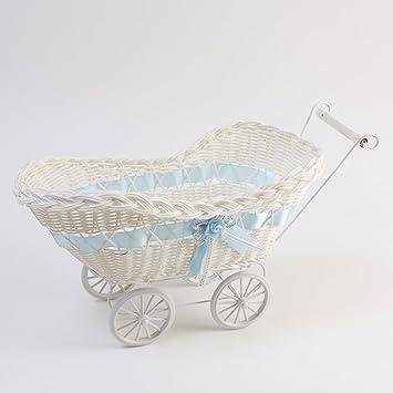 Cochecito de mimbre cesta grande), diseño con lazo, color azul: Amazon.es: Bebé