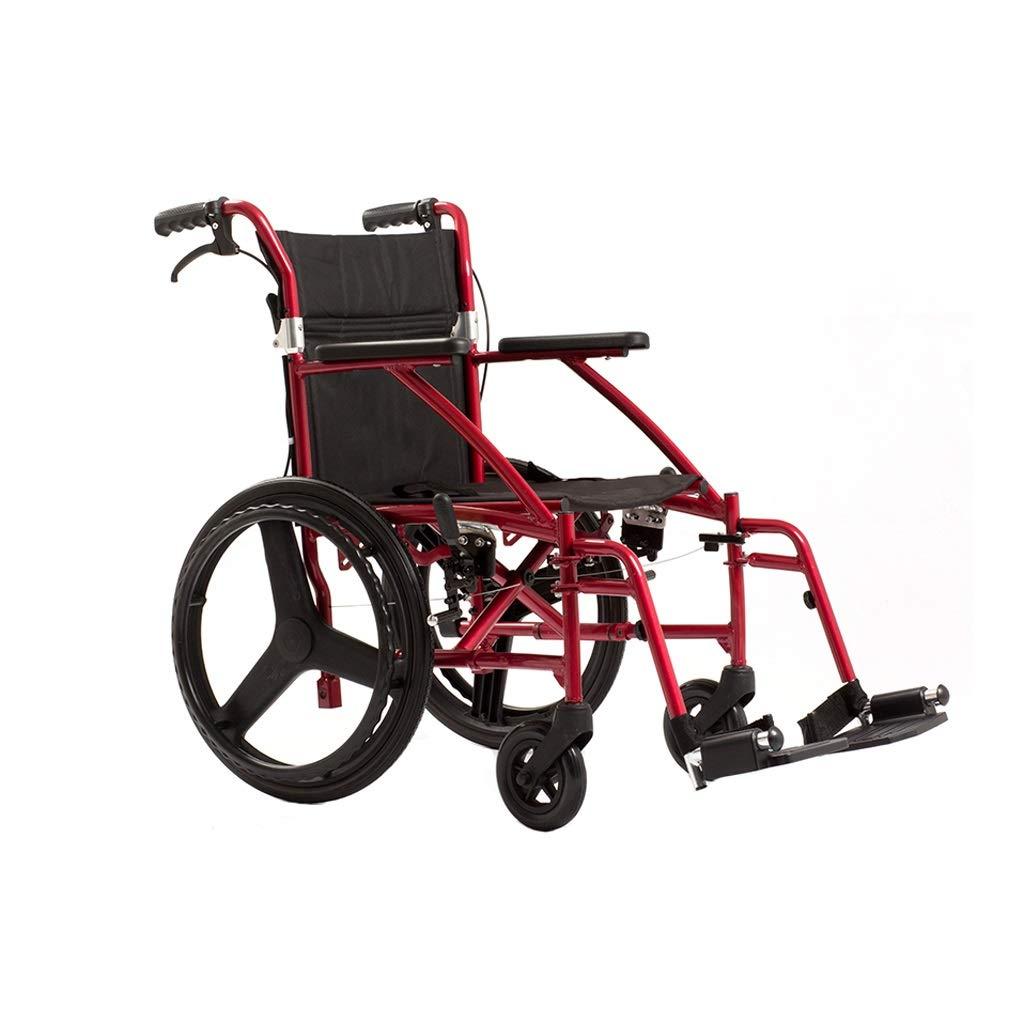 手動車椅子 - 前部および後部ブレーキ折り畳み式のあと振れ止めの取り外し可能な調節可能なペダル障害を持つ年配の人々等のために適した良質のアルミ合金 (色 : 赤)  赤 B07PPZLMHN