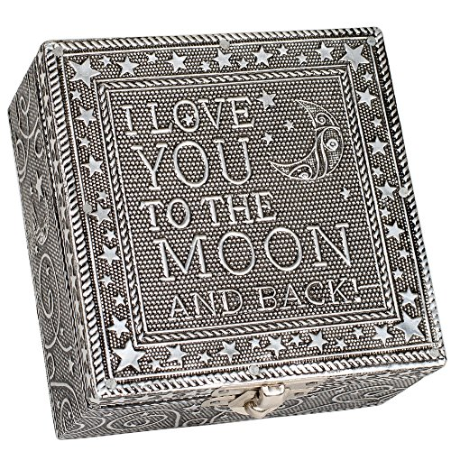 I Love You to the Moon Silver Color Artisan Metal Jewelry Box by Cottage Garden