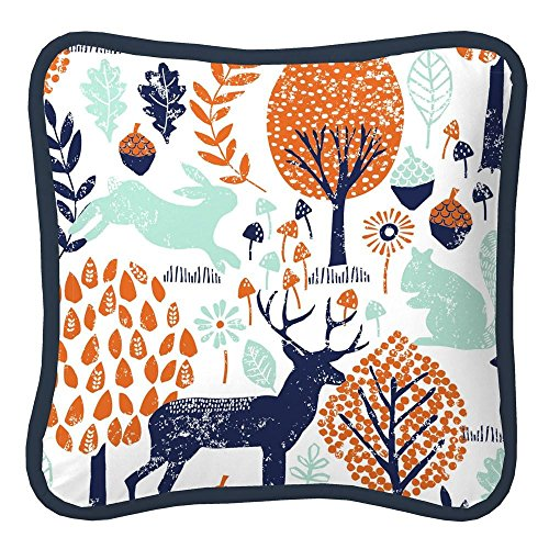 Carousel Designs Navy and Orange Woodland Decorative Pillow Square by Carousel Designs