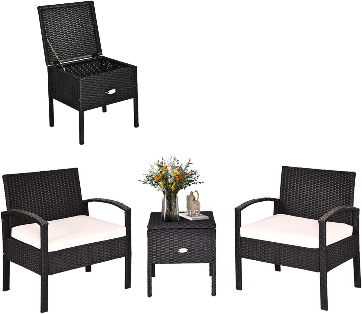 Tangkula 3 Piece Patio Wicker Conversation Set, Outdoor Rattan Furniture with Washable Thick Cushion & Coffee Table w/Storage Space, Patio Furniture Set for Backyard Porch Garden Poolside (Black)