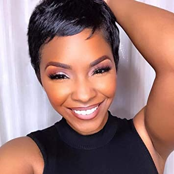 Ruisenna Short Hair Wigs For Black Woman Natural Straight Pixie Cut Wigs 100 Heat Resistant