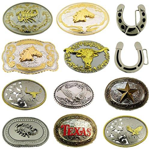 Wholesale Lot Belt Buckles Texas Us 12 Pcs Bull Eagle Horse Horseshoe Scorpion from Generic/Buckleszone