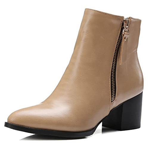 1c09f03b3ff9d Onewus Women Plus Size & Mini Size Ankle Boots Pointed Toe Block Heel Zipper  Booties: Amazon.ca: Shoes & Handbags