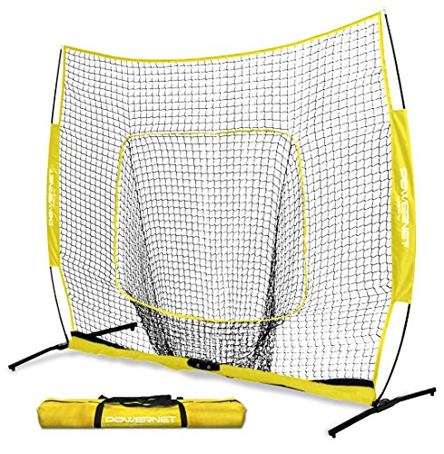 (PowerNet 8x8 XLP PRO Net with One Piece Frame (Yellow) | Huge Baseball Softball Hitting Pitching Area | Great for Teams | Batting Fielding Portable Backstop | Non-Tip Weighted Base | 8 x 8 (64SqFt))