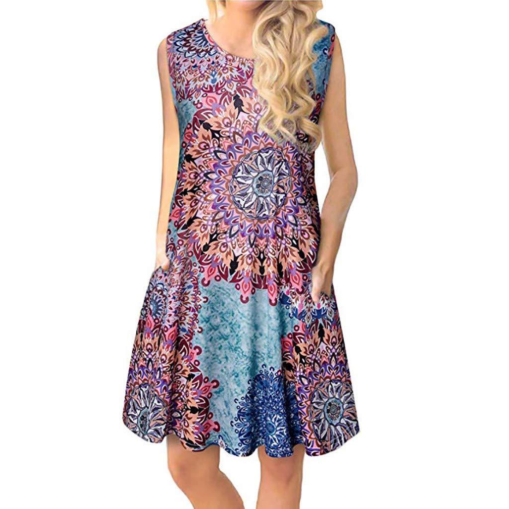 Clearance! Peigen Womens Dress Summer O-Neck Boho Sleeveless Floral Printed Beach Mini Dress Casual T-Shirt Short Dress