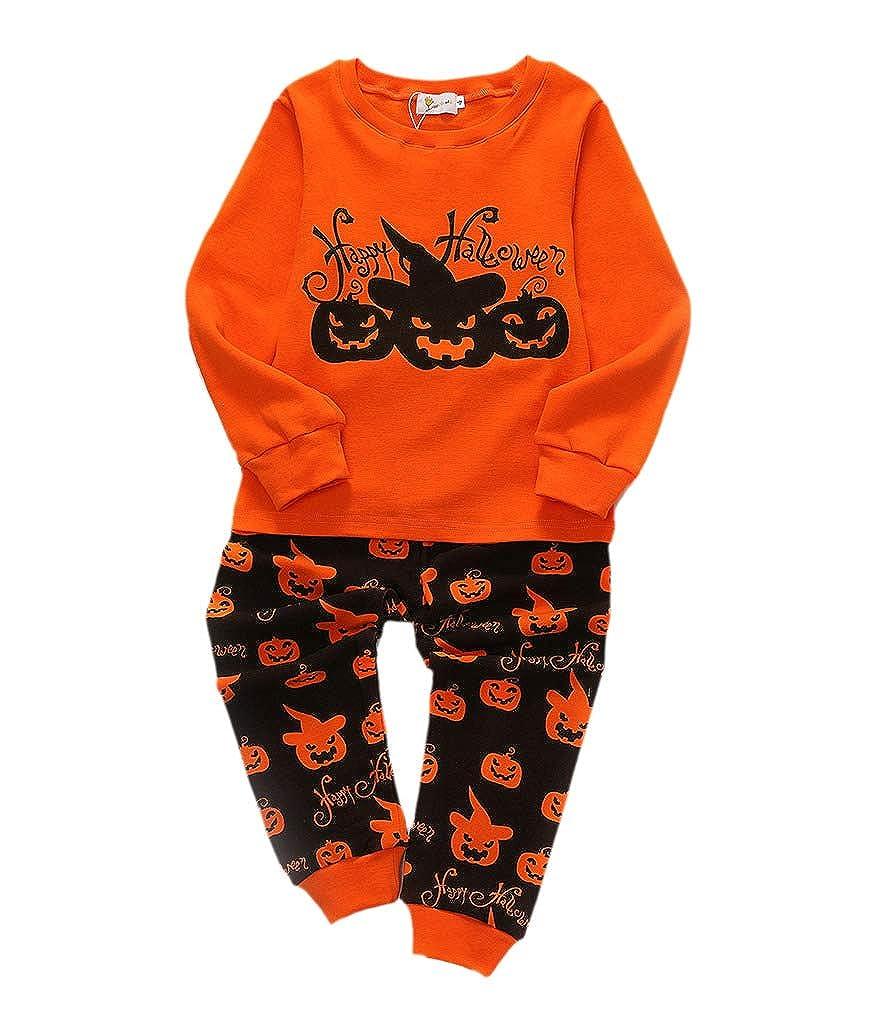 Buy-Box Childrens Unisex Halloween Pumpkin Long Sleeve Pyjama Two-Pieces Suit