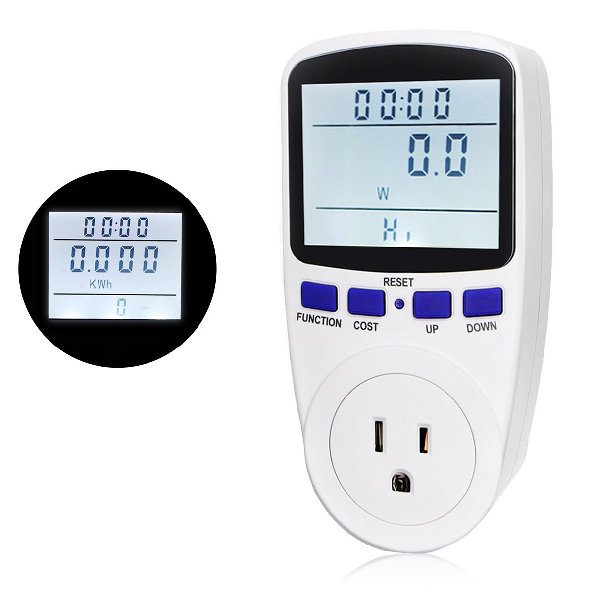 RioRand Plug Power Meter Socket Energy Watt Voltage Amps Meter with Backlight Reduce Your Energy Costs