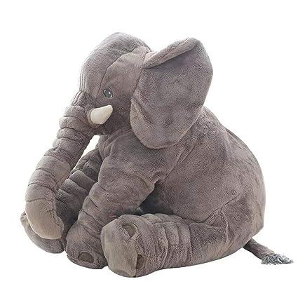 CTlite - Almohada de Peluche con Forma de Elefante para bebé, niña, niño, recién Nacido, Gris, 60 cm
