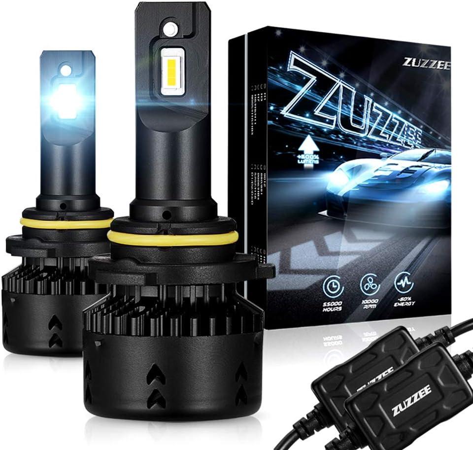 2 Pack 70W 10000LM//Set Car Headlights Lamp LED Hid Kit Mini Size IP68 ZUZZEE 9006//HB4 LED Headlight Bulbs High//Low Beam 6500K Super White