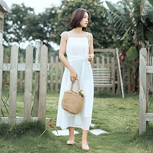 MiGMV?Jupe Femme Robes Porte Jarretelles au Milieu de l't Taille Jupe Longue Taille Super rtro Robe de Mousseline de fe,M,White