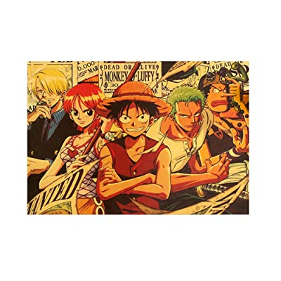 Tianmeijia 8 Styles One Piece Action Figure Poster Crafts Wall Stickers Vintage Paper Anime One Piece Posters Luffy Wanted Boys Gifts(Style14): Kitchen & Dining