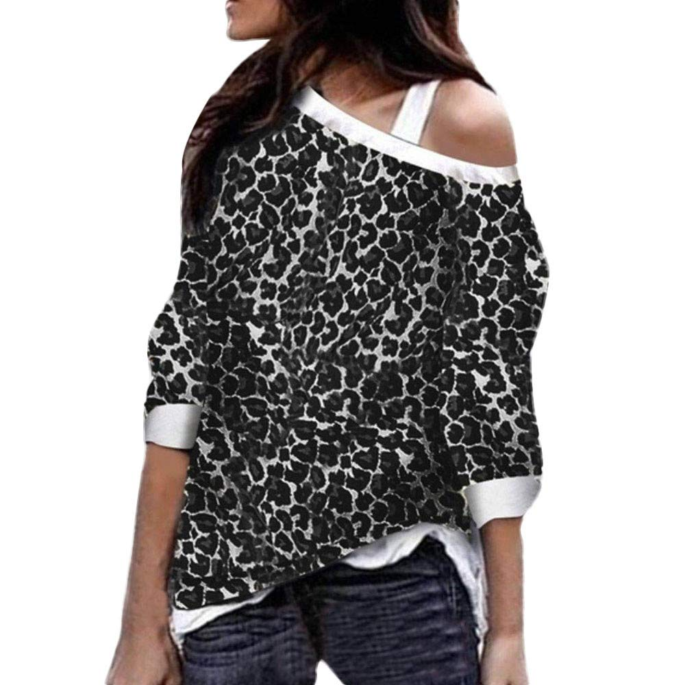 Kumike Fashion Women's Leopard Off The Shoulder Long Sleeve Loose Fit Pullover Sweatshirts