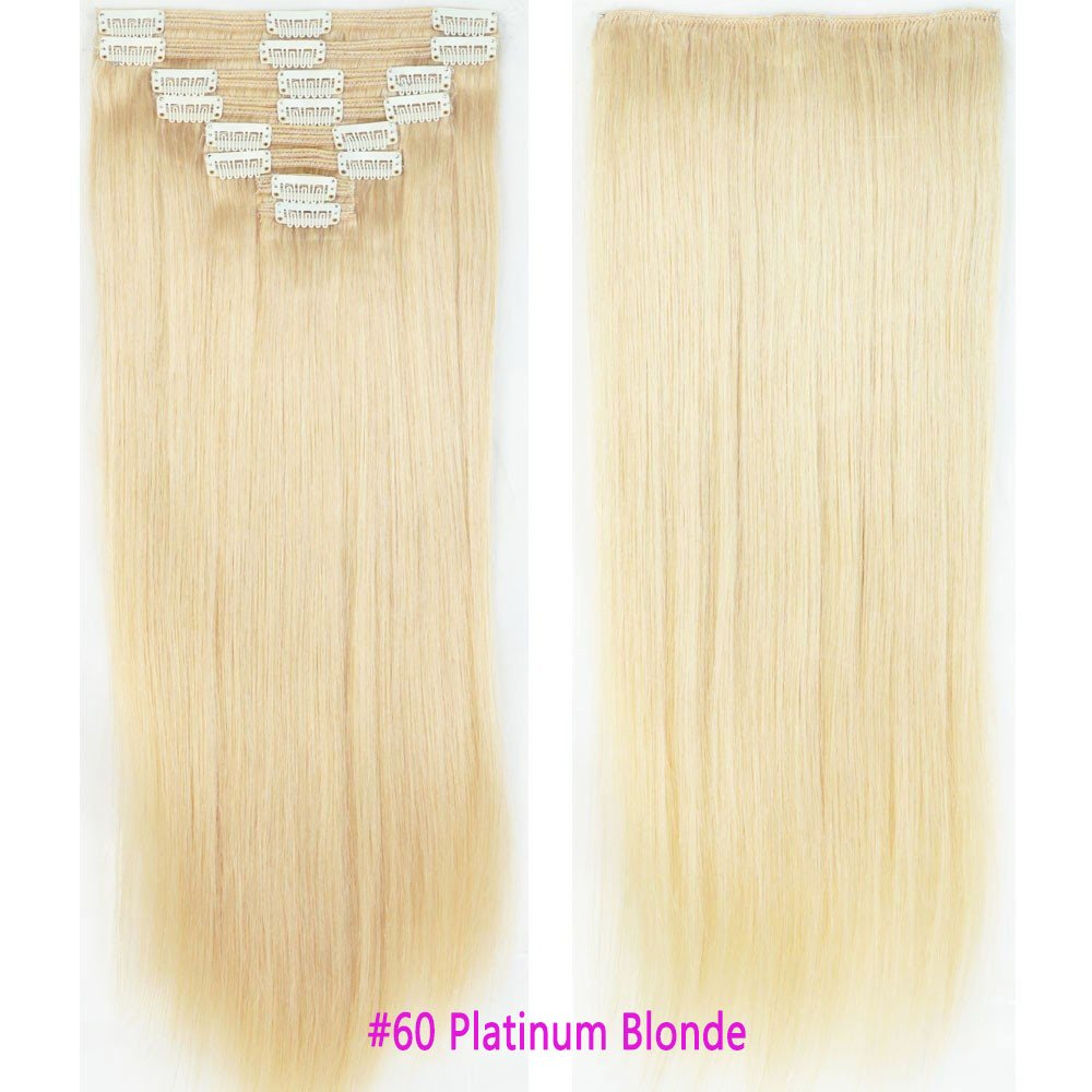 100% Real Remy Clip in Hair Extensions 14-22inch Grade 7A Natural Hair Full Head Double Weft 8 Pieces 18 Clips Long Smooth Soft Silky Straight for Women Fashion(22 Inch 160g,#60 Platinum Blonde)