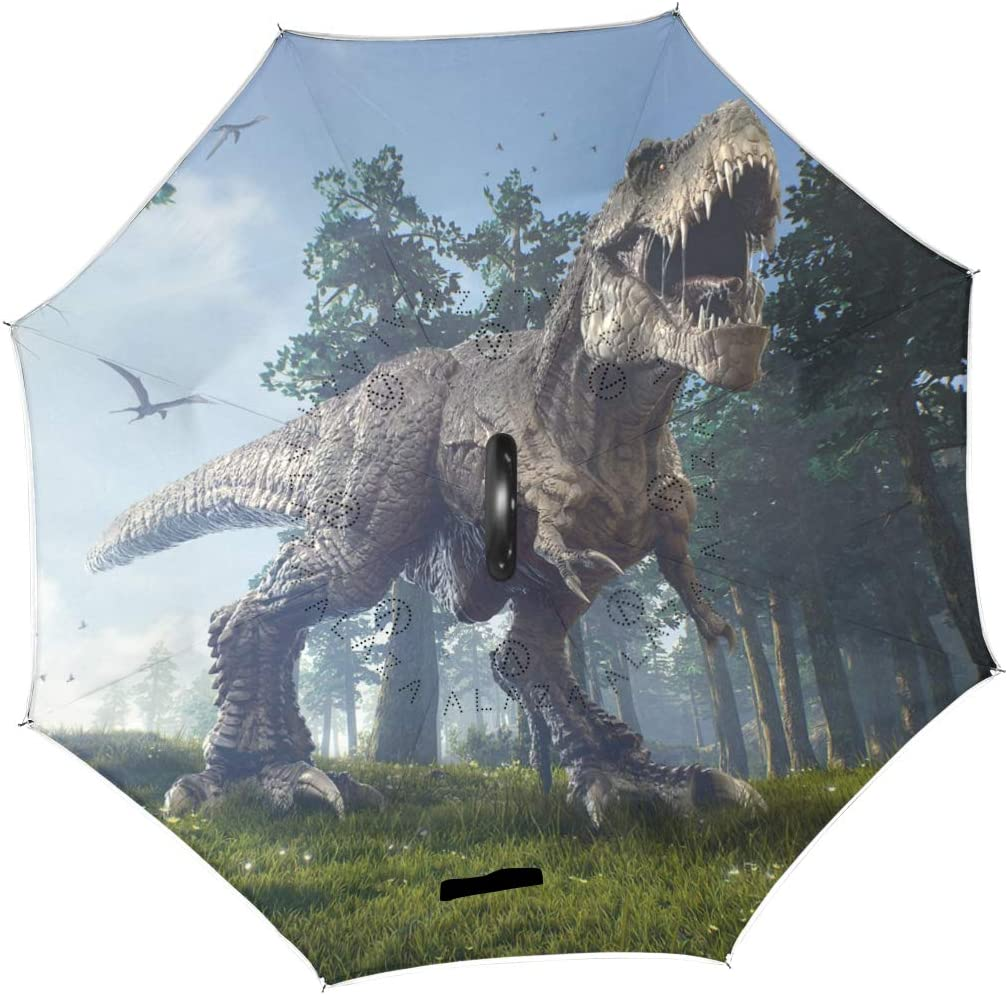Jurassic Dinosaur Tyrannosaurus Rex Inverted Umbrella Large Double Layer Outdoor Rain Sun Car Travel Reversible Umbrella with C Handle for UV Protection Waterproof Windproof