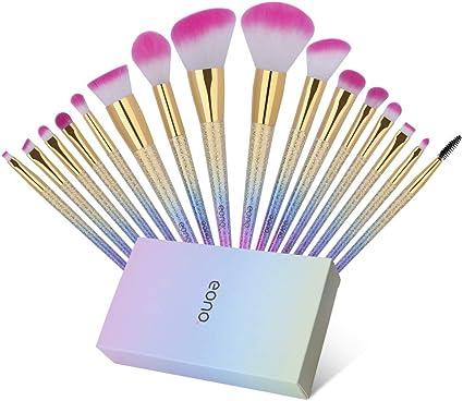 Eono by Amazon - Set de Brochas de Maquillaje 16Pcs Professional, Premium Pinceles de Maquillaje para Fundación Sonrojo Polvo Líquido Crema Sombra de ojos Maquillaje cepillo con caja de regalo: Amazon.es: Belleza