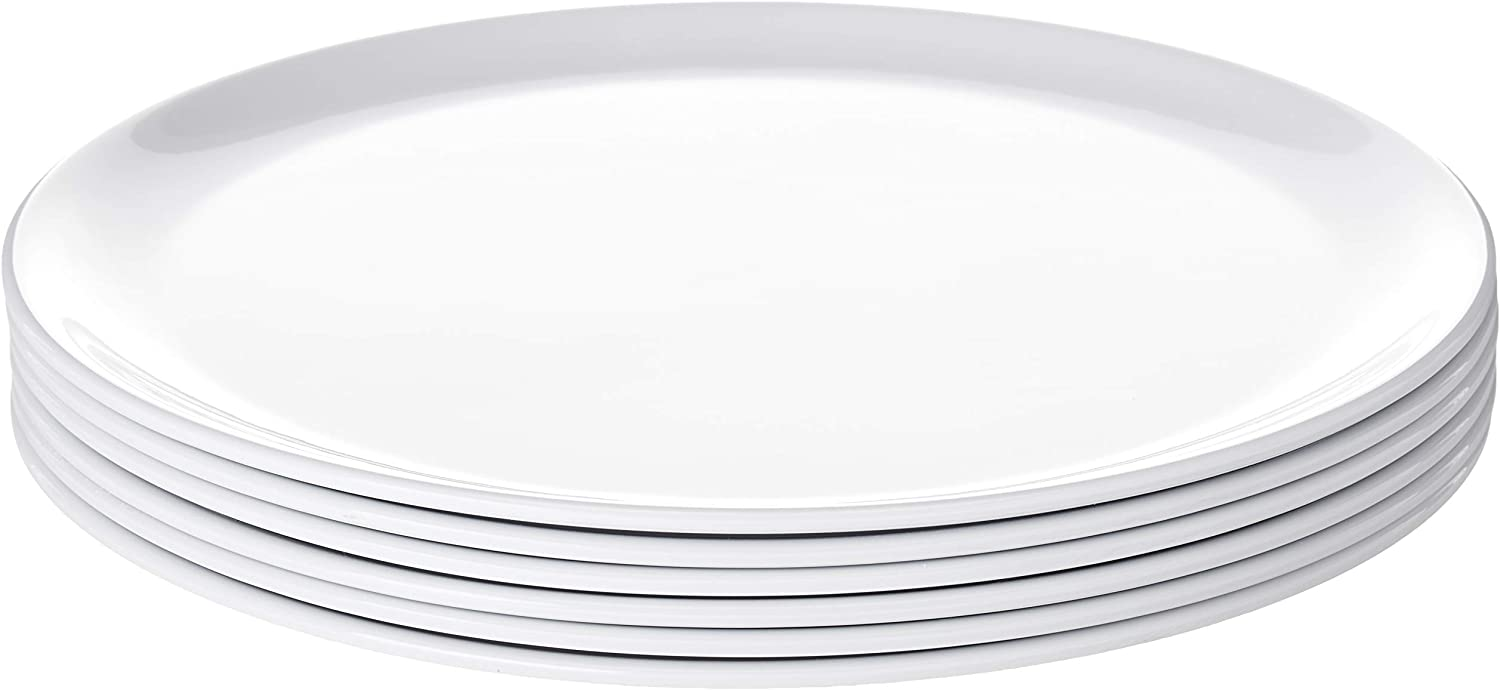 Bayview Essentials- Chip-Resistant Large Daily Melamine Round Dinner Plate- Set of 6- 11 inches (White)