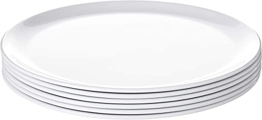 Set Of 6 11 Inches Shatter Proof And Chip Resistant Large Melamine Round Dinner Plate Bayview Essentials Gray Plates Dinnerware