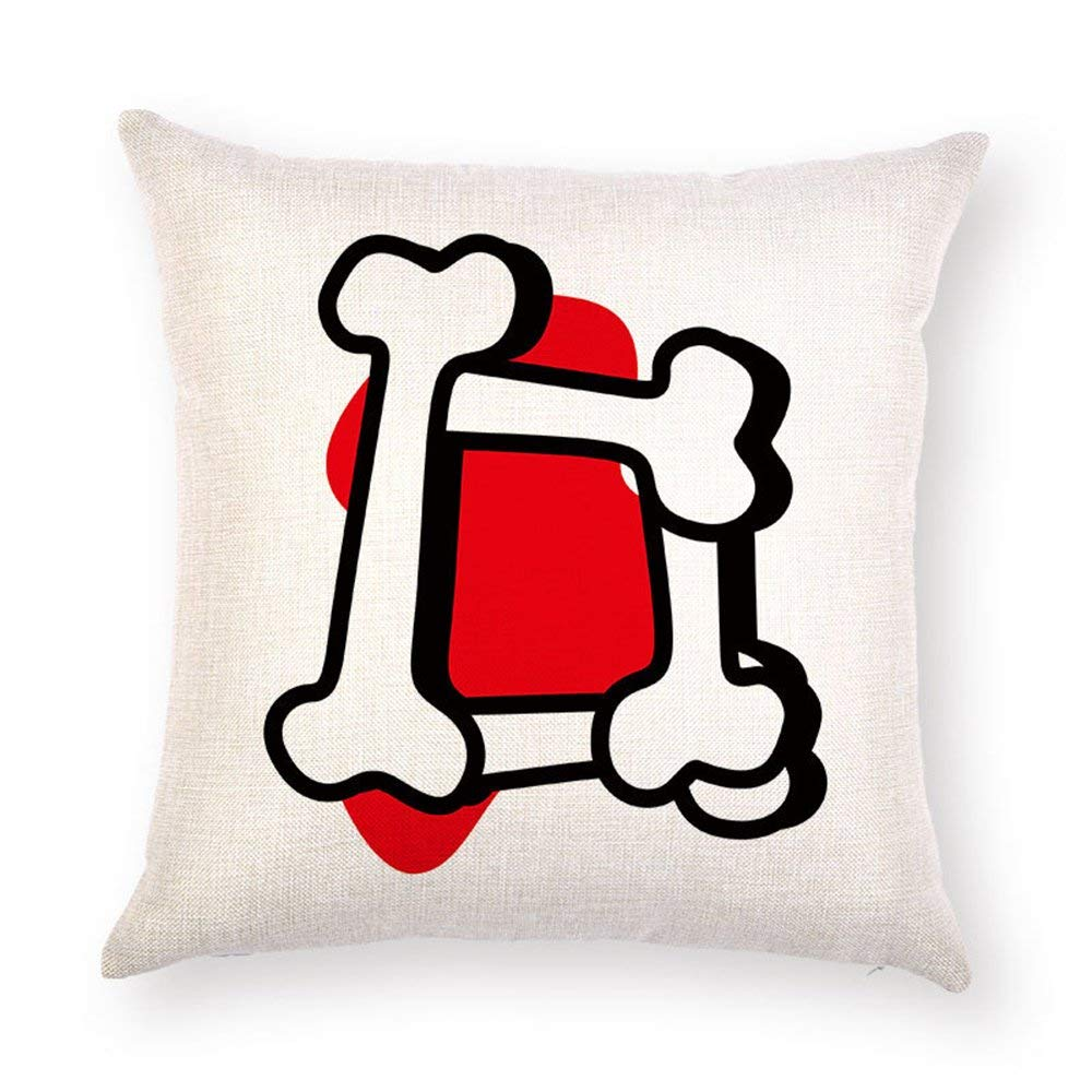 DHNKW Cushion Covers Alphabet Dog Bone Letter ABC Painting ...