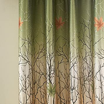 Curtains Drapes 2 Panel All Sizes – KoTing Green Maple Tree Lined Window Curtains Grommet Top 2 Piece Custom Made Drapes 84 inch Long 42 84