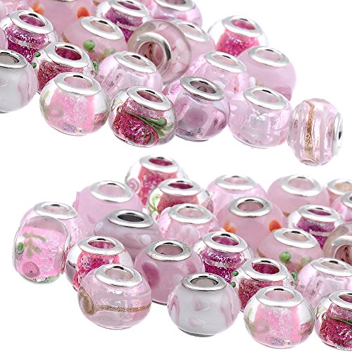 RUBYCA Mix Pink Murano Lampwork Glass Bead Rondelle European Charm Bracelet Silver Color 30pcs (Charms Glass Lampwork)