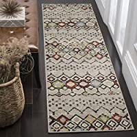 Safavieh Amsterdam Collection AMS108G Southwestern Bohemian Light Grey and Multi Runner (23 x 14)