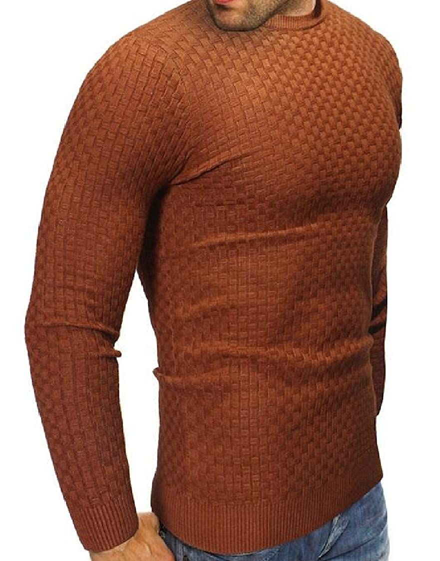 Lutratocro Mens Casual Long Sleeve Crew Neck Pure Color Jumper Sweaters