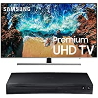 "Samsung UN55NU8000FXZA Flat 55"" 4K UHD 8 Series Smart TV 2018 Bundle with Samsung BD-J5700 Curved Blu-ray Player with Wi-Fi (2015 Model)"