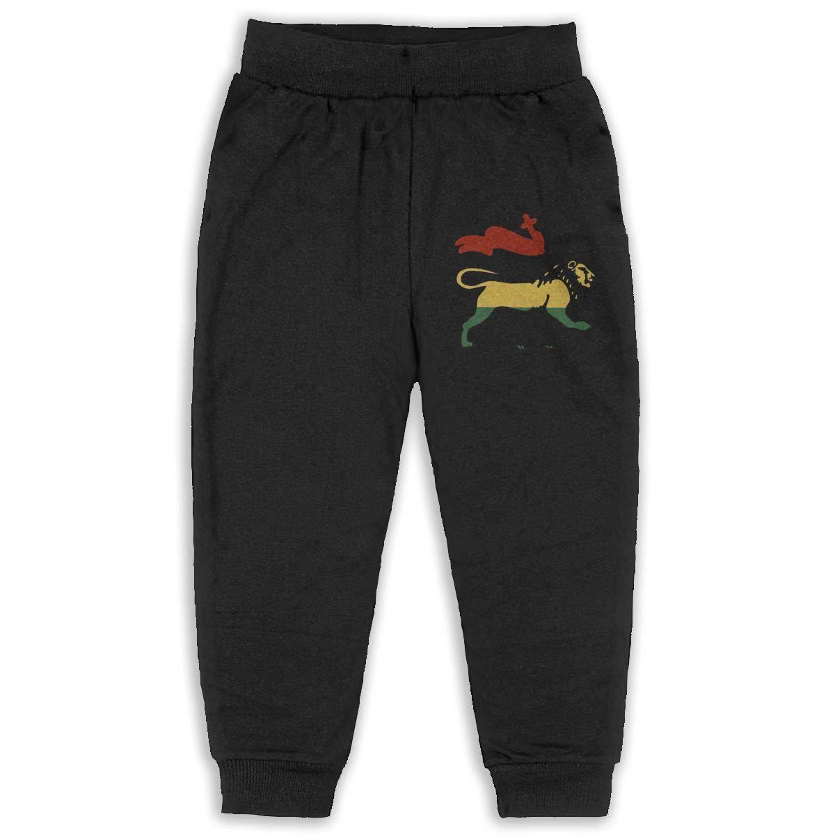 Reggae Rasta Lion Kids Cotton Sweatpants,Jogger Long Jersey Sweatpants