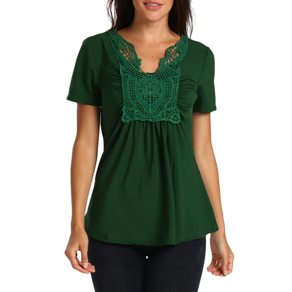 Vickyleb Womens Tops Summer Butterfly Lace Splice T-Shirts Casual Short Sleeve Tops Blouses V Neck Shirts Green