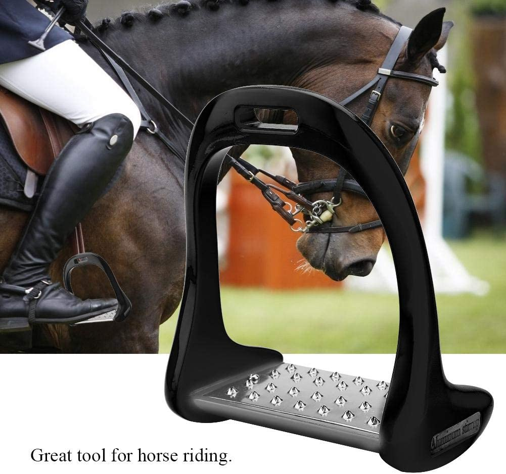 Yosooo Horse Riding Stirrups, Aluminum Stirrup with Stainless Steel Anti Slip Pad for Equestrian Saddle