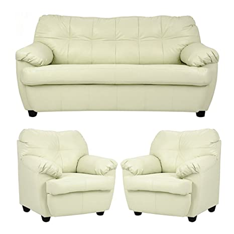 Wondrous Furny Rosabelle 3 1 1 Leatherette Sofa Set Standard Cream Beatyapartments Chair Design Images Beatyapartmentscom