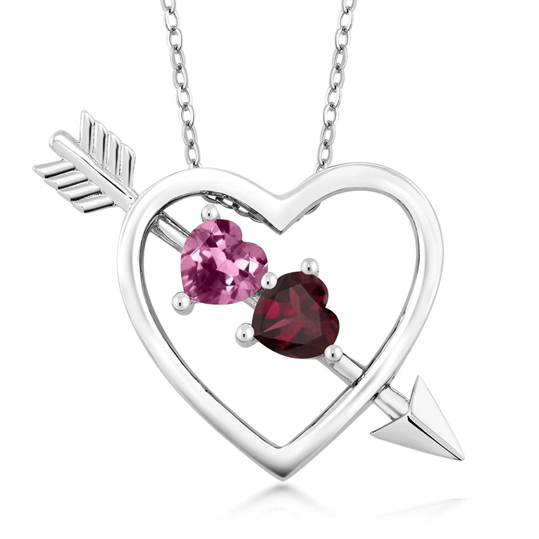 0.99 Ct Pink Tourmaline Red Rhodolite Garnet 925 Silver Heart and Arrow Pendant