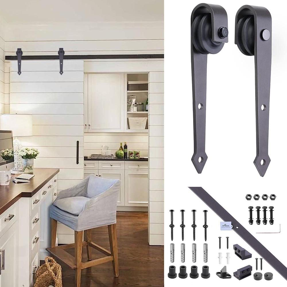 6.6ft Country Style European American Steel Sliding Barn Door Hardware Track Rail Kit for Wooden & Concrete Wall, US Delivery 61yy7wVmgeL