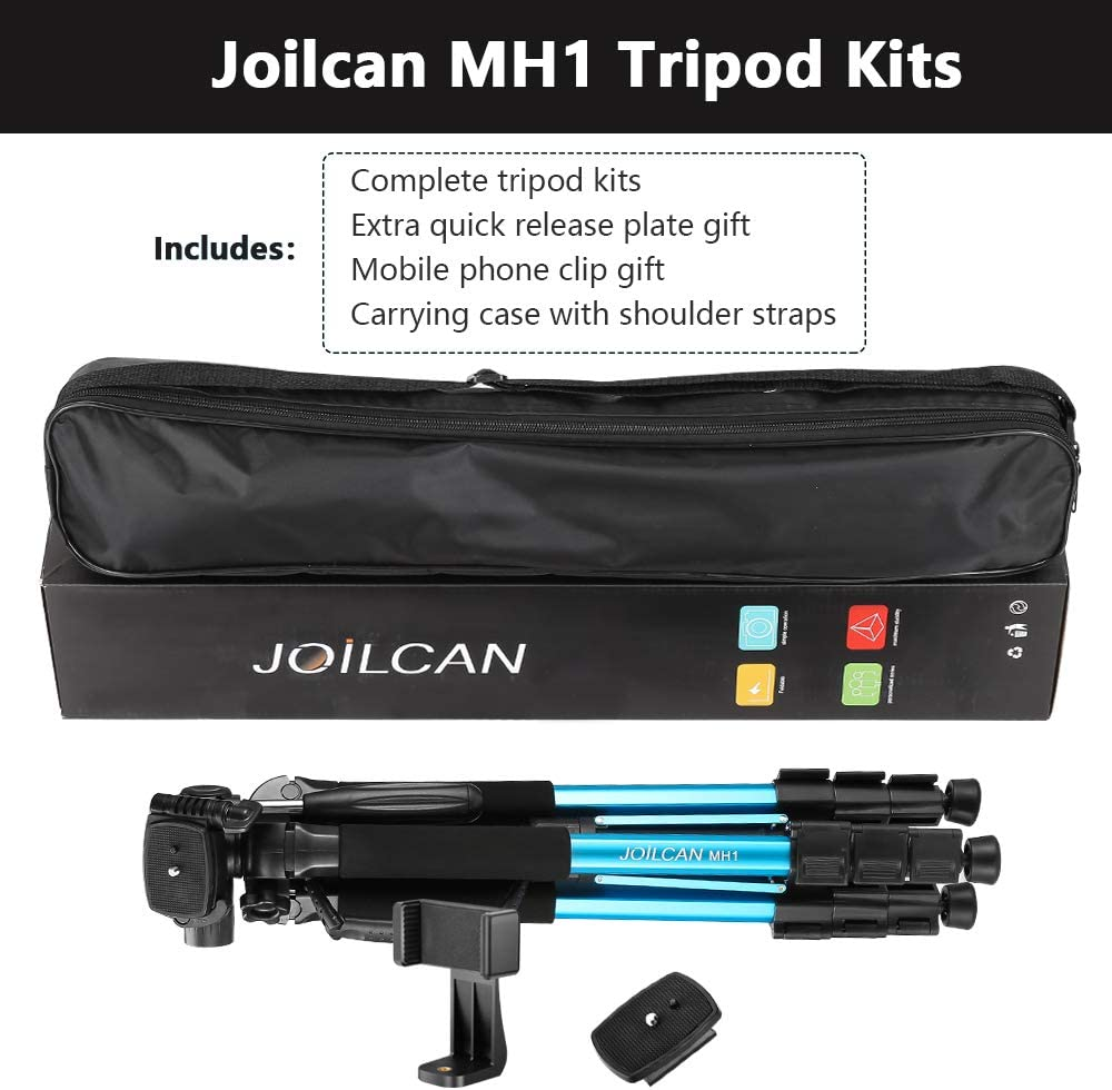 72-Inch Camera MH1 Blue iPhone /& Android Phone Tripod Aluminum Tripod /& Monopod Full Size for DSLR with 2 Quick Release Plates and Convenient Carrying Case Ideal for Travel and Work