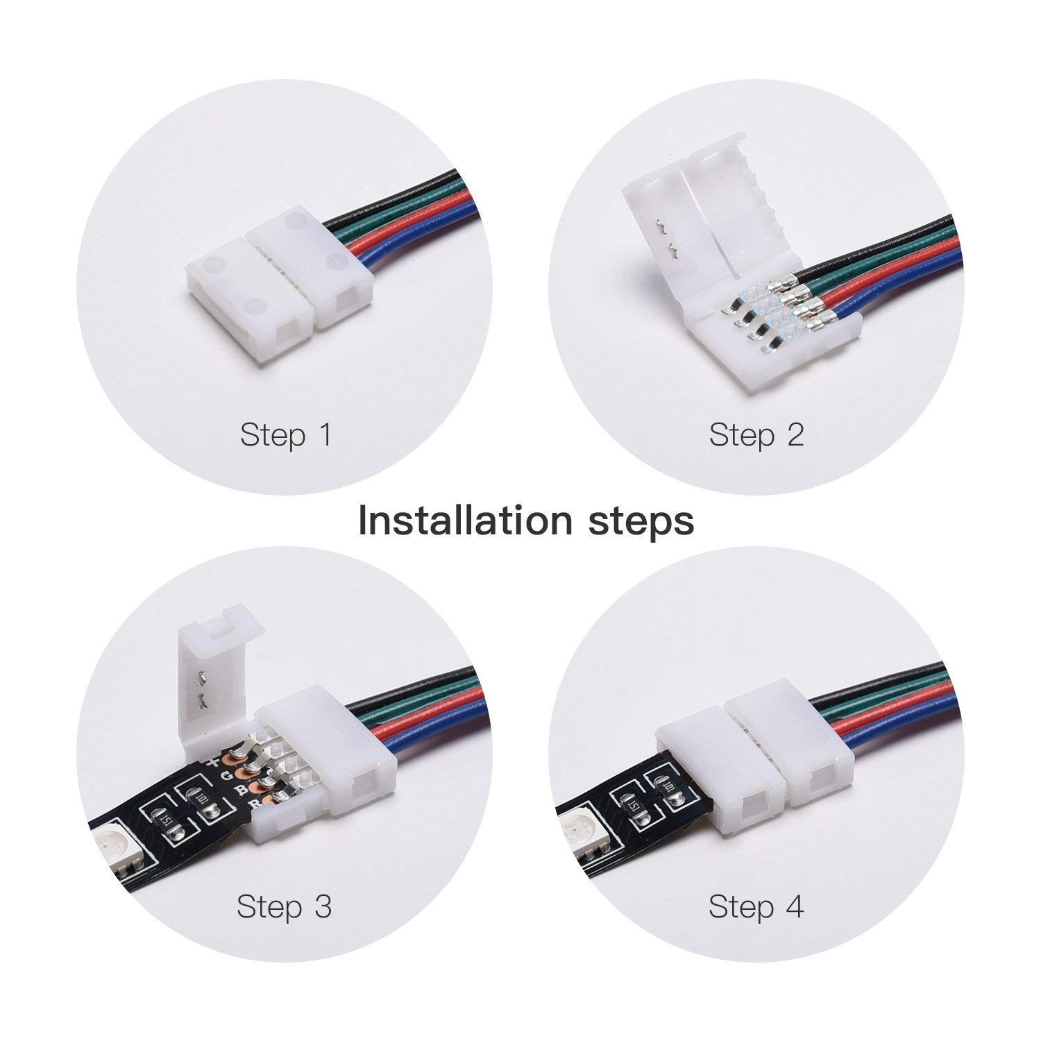 LETOUR 5050 RGB LED Light Strip Connector Kit with 4 Pins 10 mm Wide Strip to Strip Jumper-4Pack ShuoFeng LT-Connect