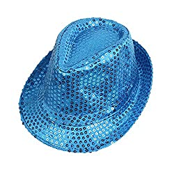 Blue Sequins With LED Flashlight Fedora hat