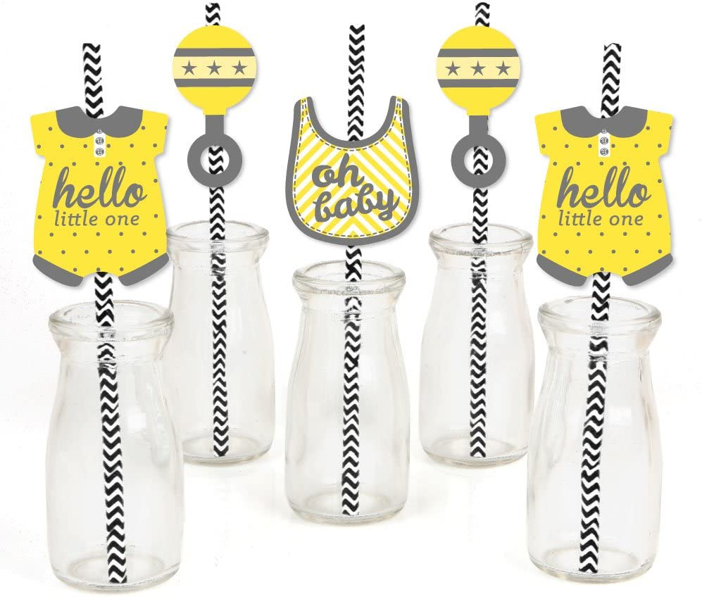 Hello Little One - Yellow and Gray - Paper Straw Decor - Neutral Baby Shower Party Striped Decorative Straws - Set of 24