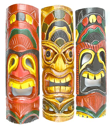 20 IN HAND CARVED BEAUTIFUL SET OF 3 POLYNESIAN TIKI GOD MASKS Carved Wood Hang Mask