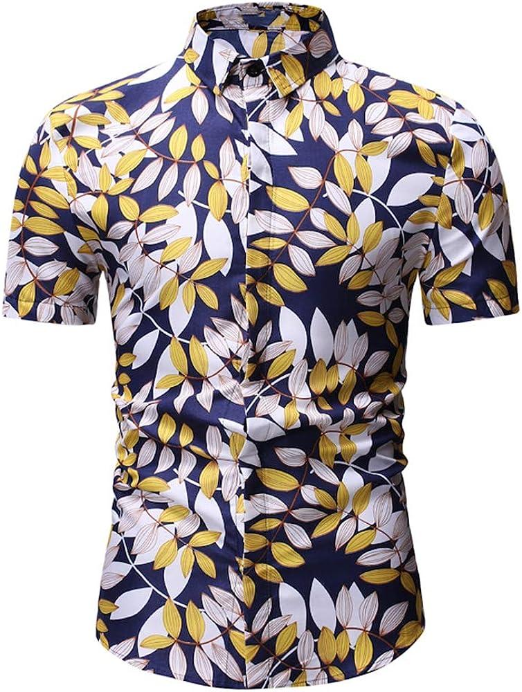 Été Hommes Casual coton à manches courtes O-Cou Imprimé Floral Coupe Slim T-Shirt