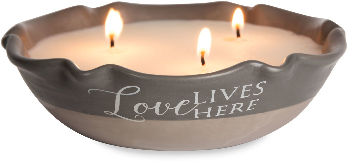 Pavilion Gift Company 86214 Plain Love Lives Here - 3 Wick Ceramic Tranquility Scented Candle,