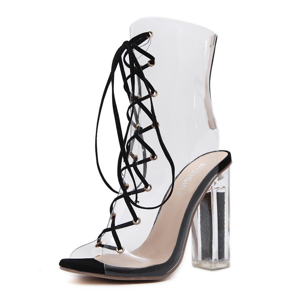 Damen Transparente PVC Sandalen Sexy Stiefel Kristall Schuhe Dick Hoch Hacke Transparent Kreuz Riemen Schwarz Arbeit Party Kleid Nachtclub