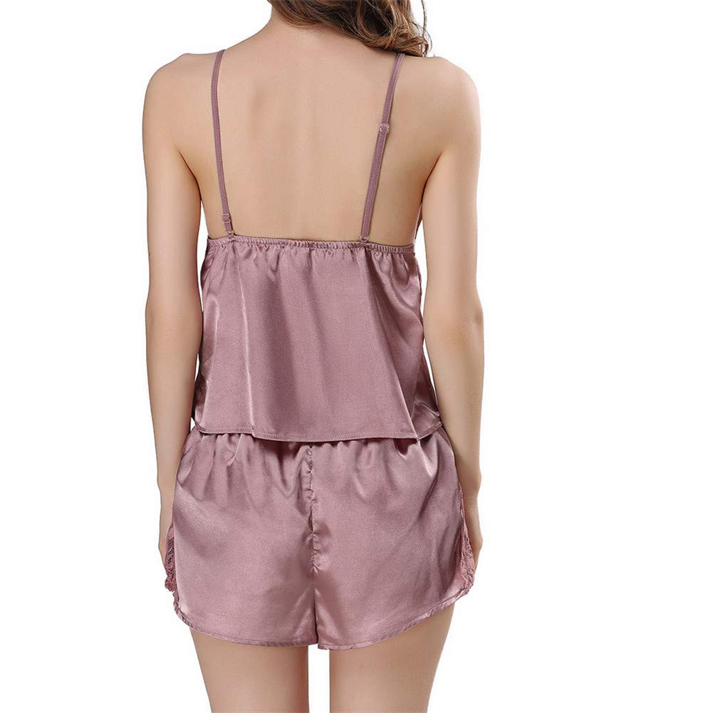 Womens Lingerie V Neck Nightwear Satin Sleepwear Lace Chemise Teddy Coffee by Kirbyates_Women's Lingerie (Image #4)