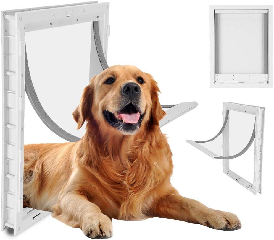 Puerta para mascotas, instalación de puerta para mascotas grande para perros Instalación sencilla de vallas para mascotas Entrada y salida especial Instalación de la puerta para mascotas (Blanco)