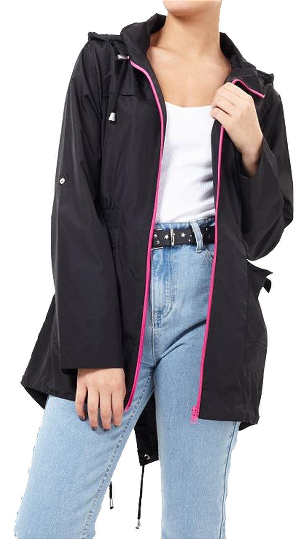 Click Selfie® New Ladies Plus Size Plain Mac Raincoats Waterproof Fishtail Parka Hooded Jackets 18-24 Clickselfie
